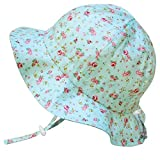 Cute Infant Baby Girl Breathable Sunhat 50 UPF, Adjustable, Stay-on Tie (S: 0-9m, Floppy Hat: Retro Rose)