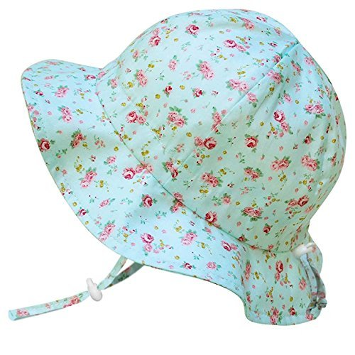 Twinklebelle Children's Cotton Sun Protective Hats 50 UPF, Adjustable, Stay-On, Packable (L: 2-12Y, Floppy Hat: Retro (Large Rose Sun Hat)