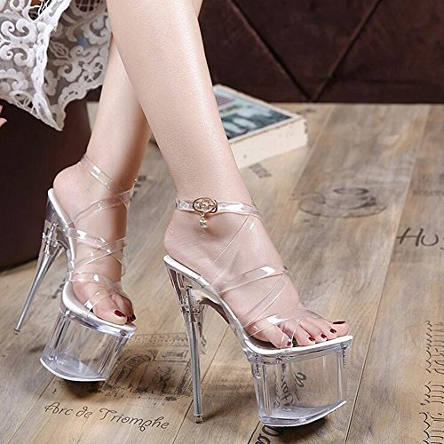 Wedding PVC 37 Glitter Heel Heel Party amp; Spring Size for Women's Shoes Stiletto Club Shoes Heels Sparkling A Summer Color Evening Crystal wWq1x6A5