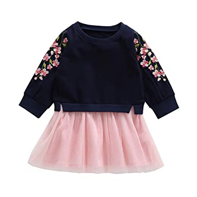7b156240d2fa Amazon.com  KONFA Toddler Baby Girls Embroidery Blossoms Splicing Dress
