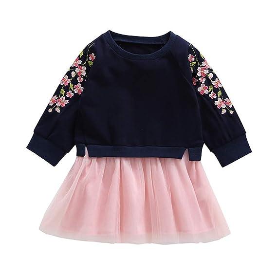 K-youth Vestido para Niñas, Vestido de Fiesta Bebé Niñas Flores De Cerezo Bordado