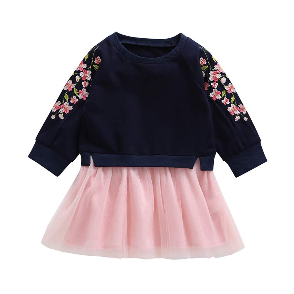 Winsummer Baby Girl Cherry Blossoms Embroidery Dress Long Sleeve Winter Warm Lace Tulle Dresses 1-4 Years Girls