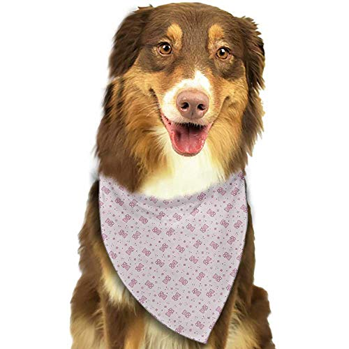 Cute pet Scarf Toys Teddy Bear with Squares Hearts and Blooming Flowers Pastel Colored Illustration W27.5 xL12 Scarf for Small and Medium Dogs and Cats