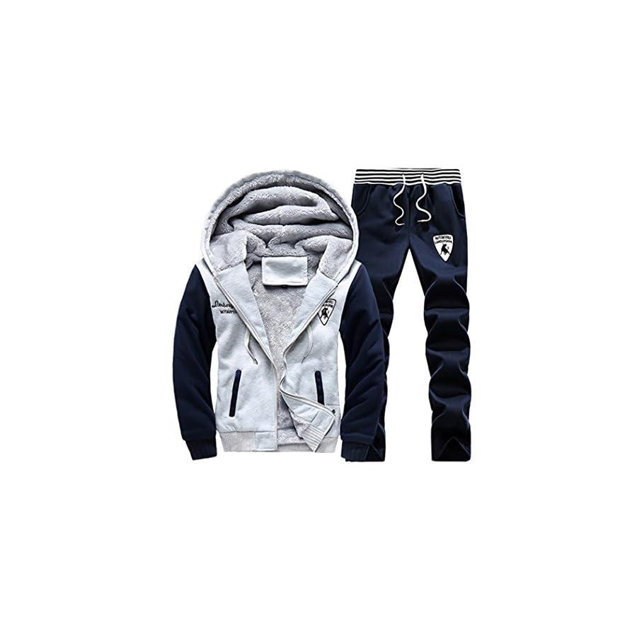 Sun Lorence Men's Winter Fleece Lined Hoodie Sweat Suit Full Zipper Tracksuit Set
