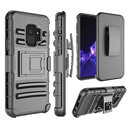 Galaxy S9 Case, Samsung Galaxy S9 Holsters Clips, Jeylly [Belt Clip] Full Body Rugged Shockproof Heavy Duty Kickstand Carrying Armor Combo Cases Cover for Galaxy S9 SM-G960U - Black