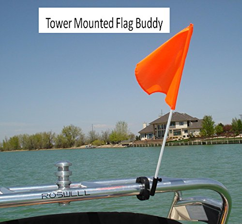 (Flag Buddy Tower Mounted Rotating Skier Down Flag Holder with Free Floating Orange Safety Flag. Adjustable Tool Free Clamping)