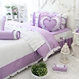 Wolala Home 100% Cotton Home Textile Girls Bowknot Bed Sets Beautiful Ruffled Duvet Cover Bedding Set Cute Princess Bedding Set (Full, purple)