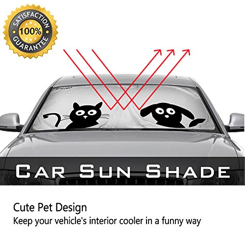 authentic car windshield sunshade with pet design ic iclover cute cartoon design front auto car. Black Bedroom Furniture Sets. Home Design Ideas