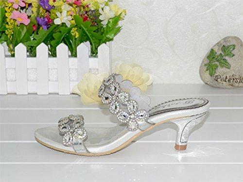 unicrystal mujeres del diseño floral con Crystal Rhinestone boda fiesta zapatos mid-heel sandalias Plateado