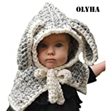 Baby Kids Knitted Cap Toddler Lined Plush Winter Warm Animal Hat With Earflap (White Rabbit)