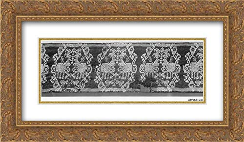 - Islamic Art - 24x14 Gold Ornate Frame and Double Matted Museum Art Print - Tunic Band with Repeating Motif of Confronted Griffins
