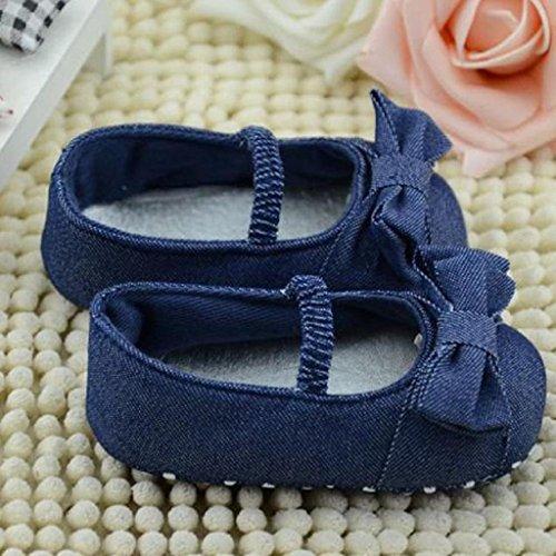 primeros pasos Koly, Zapatos para bebé-niñas, dril de algodón azul (M)