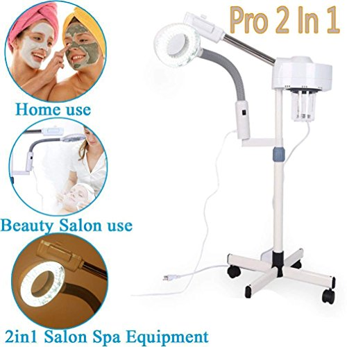 Magnifying Facial Steamer Lamp-2 In 1 Multifunctional Professional 5X Magnifying LED Lamp Machine Spa Salon Beauty Facial Clean Skin(3x)