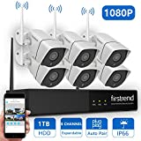 [Expandable System] Security Camera System Wireless, Firstrend 8CH 1080P Security Camera System with 6pcs HD Security Camera and 1TB Hard Drive Pre-Installed,P2P Home Security Camera System