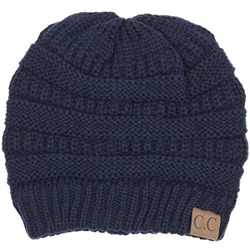 (By Summer C.C Warm Soft Cable Knit Skull Cap Slouchy Beanie Winter Hat (Navy))