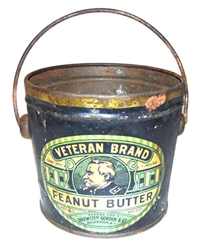 Antique Veteran Brand Peanut Butter Advertising Tin Can Bucket Rochester, NY
