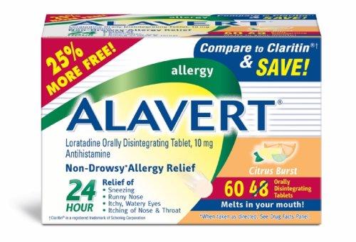 Alavert Loratadine Allergy Orally Disintegrating Tablets Citrus Burst, 60-Count Box