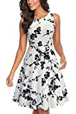 HOMEYEE Women's Sleeveless Cocktail A-Line Embroidery Party Summer Dress A079 (8, White + Black Floral)