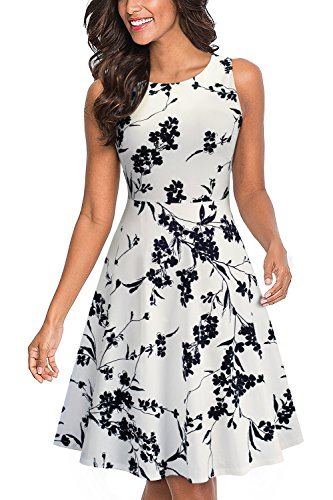 HOMEYEE Women's Sleeveless Cocktail A-Line Embroidery Party Summer Dress A079 (4, White + Black Floral)