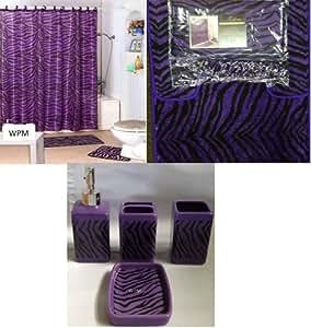 Complete bath accessory set black purple zebra animal for Zebra kitchen set