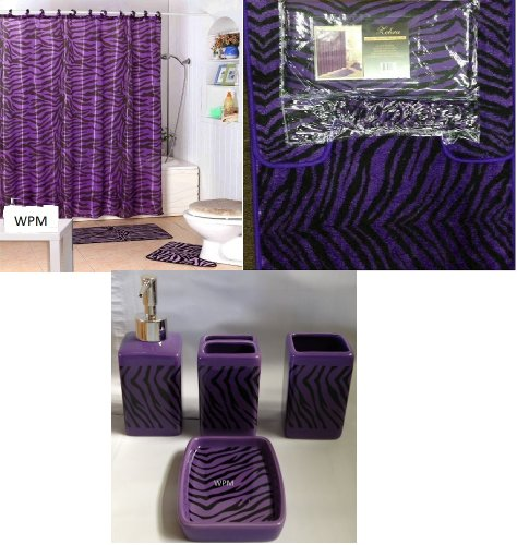 Complete Bath Accessory Set- Black Purple Zebra Animal Print Bath Rug Set + Black Zebra Shower Curtain & Ceramic Accessories-new - Zebra Print Shower