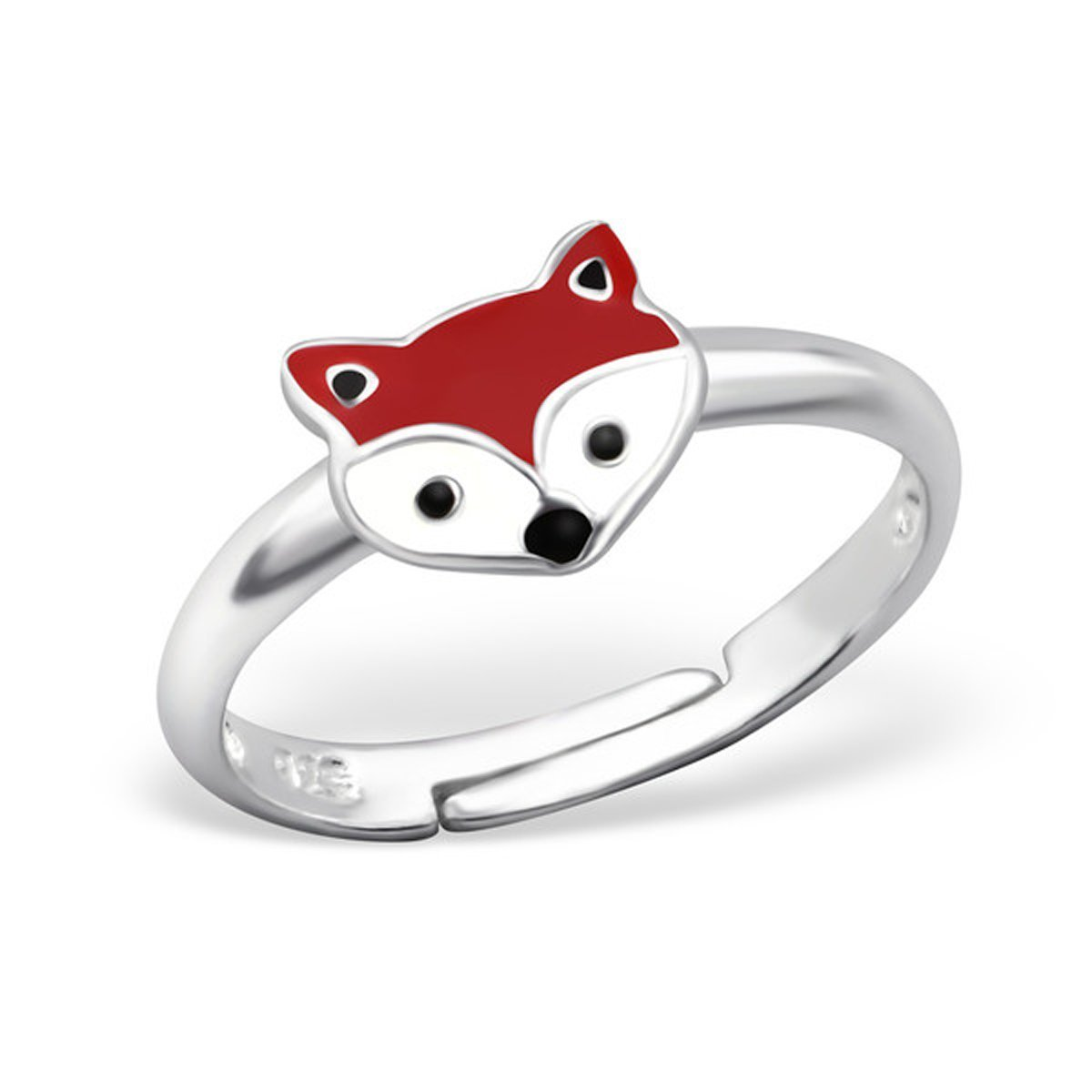 Fox Ring Cute Girl Children Jewelry Size Adjustable Sterling Silver 925 (E27729)