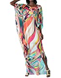 (US) Bestyou Women's Turkish Chiffon Kaftans Caftan Printed Cover up Tunic Free Size (Geo-Print 1)