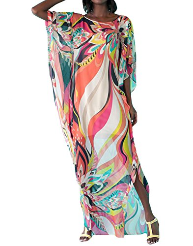 ish Chiffon Kaftans Caftan Printed Cover up Tunic Free Size (Geo-Print 1) (Geo Pool Bag)
