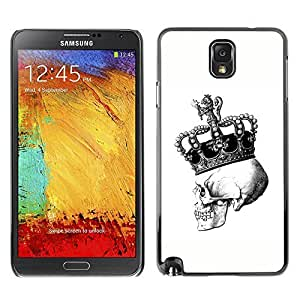 Colorful Printed Hard Protective Back Case Cover Shell Skin for SAMSUNG Galaxy Note 3 III / N9000 / N9005 ( Crown Skull White Black Bling King )