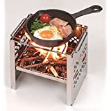 Fang Chen Wood Burning Backpacking Stoves 430 Stainless Steel Folding Outdoor Camping Hiking BBQ Cooker Stove (small)