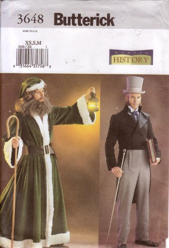 Father Christmas Costume Pattern (Butterick Sewing Pattern 3648 Dickens Era Men's Historical Costumes, Victorian Suit & Father Christmas Robe)