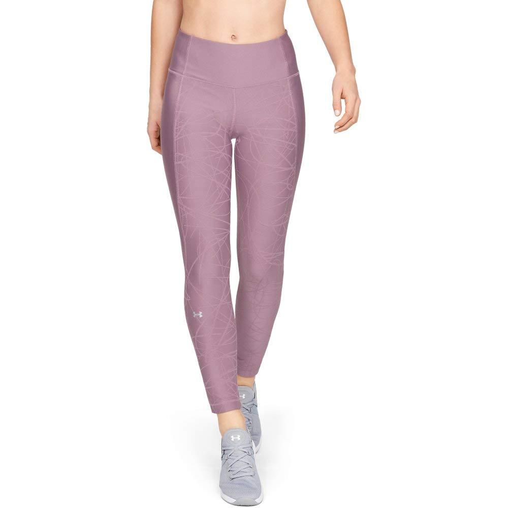 Under Armour Women's HeatGear Armour Ankle Crop Jacquard, Purple Prime (521)/Metallic Silver, X-Small
