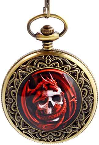 Boshiya Alloy Dragon Pirate Retro Pocket Watch Enamel Painting Flowers With Necklace.
