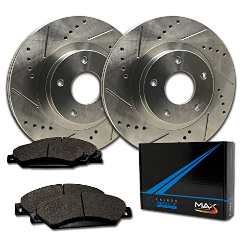 Max Brakes Front Performance Brake Kit [ Premium Slotted Drilled Rotors + Metallic Pads ] TA001231 Fits: 1994-1997 Civic Del Sol 2007 2008 Fit