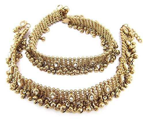 - Aria Antique Style Diwali Festive Cz Plated Bridal Anklet Gold
