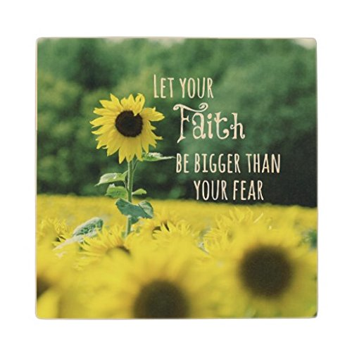Otozoo Inspirational Let Your Faith Be Bigger Than Fear Wooden Coaster (set of 4) by Otozoo