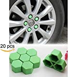 Tool Gadget 20-pcs Car Wheel 19mm Hub Lugs Nuts Bolts Silicone Cover - Super Sleek Cute Protective Cap Dust Protective Tyre Valve Screw Cap Cover -Green