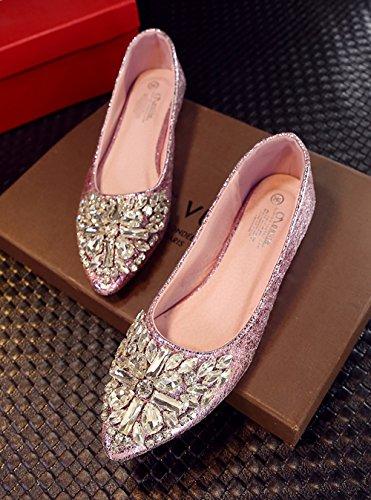 perline caduta scarpe nella scarpa sottolineato singola Low Cut di messo Angrousobiu del perforazione Rosa di piatto scarpe piede nella di acqua Donna con Calzature una ha luce primavera piatte vq5d4a