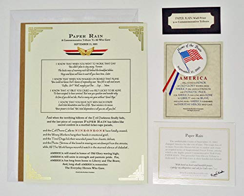 (9/11 Wall Print Memorial Poem Tribute 5pc Set with Commemorative Flag Pin Button )