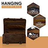 KOMALC Genuine Buffalo Leather Hanging Toiletry Bag