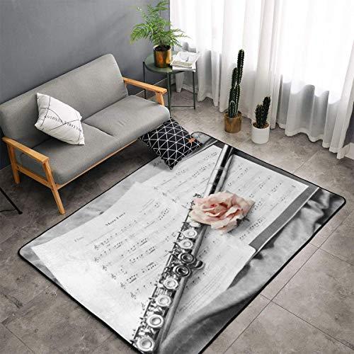 (Karen Felix Non-Slip Area Rugs Door Mats - Pink Rose and Flute Floor Mat Living Room Bedroom Carpets Doormats Home Decor 60 X 39 in)