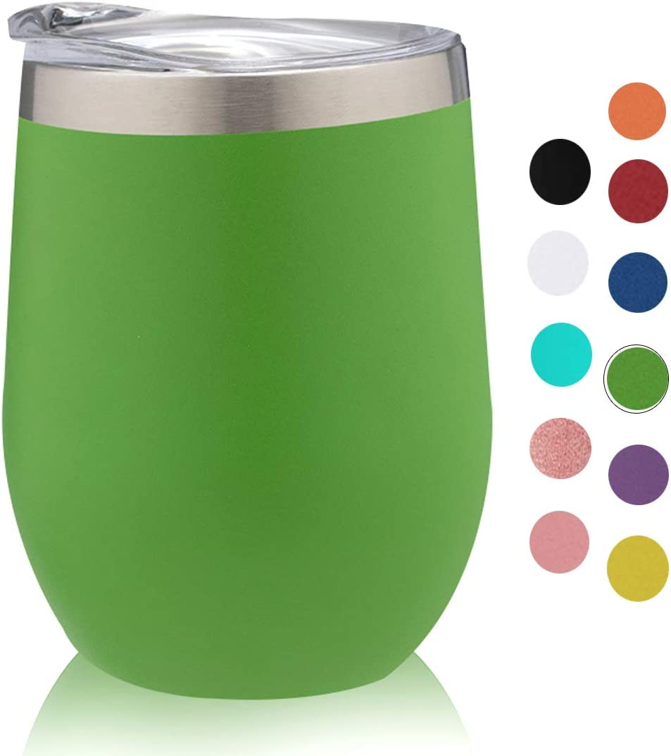 PURECUP Stainless Steel Wine Tumbler With Lid,12 oz Double Wall Vacuum Insulated Travel Tumbler,For Champaign,Cocktail,Beer,Coffee,Drinks,BPA Free(Emerald-Green 1 Pack)