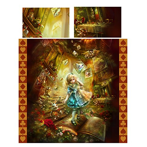 ALICE IN WONDERLAND Duvet & Pillows Case Covers Set for Queensize Bed