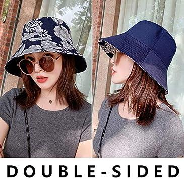 MKHB Sombrero de Buzo de algodón a Cuadros de Doble Cara Gorra de Verano para Mujer Sombrero de ala Ancha Plegable Gorra de Pescador Plana Anti-UV Sombrero de Mujer Panamá estándar Azul Marino