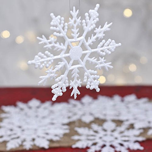 Factory Direct Craft Package of 40 Plastic White Glitter Covered Snowflake Ornaments for Winter Weddings, Tree Trim, and ()