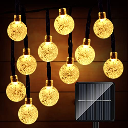 Solar String Lights Outdoor, 36FT 60 LED Waterproof Solar Powered Rope Lights Crystal Globe Decorative with 8 Lighting Modes for Fence Patio Garden Yard Pergola, Bistro (Warm White)