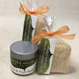 JANECKA Two Valencia Orange Square Soaps / One Hand and Foot Balm / 3 Piece Gift Set