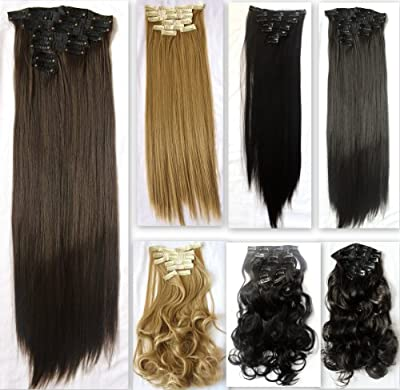 "PRETTYSHOP 24"" 120g Set 7pcs Full Head Clip In Hair Extensions Hairpiece Straight Heat-Resisting Diverse Colors"