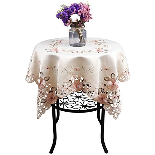 Damask handmade cutwork embroidery pink floral party tablecloth square 33 inch -