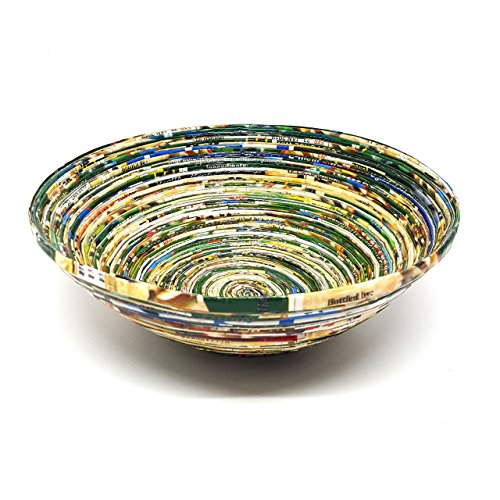 Handmade African Recycled Paper Basket Large - Green by Circle of Hands Uganda